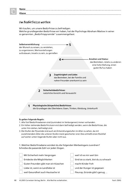 Um Bedürfnisse werben - Arbeitsblatt   Cornelsen