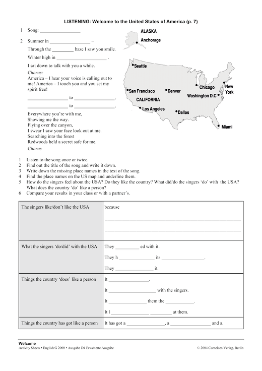 Activity Sheet: Welcome to the United States of America ...