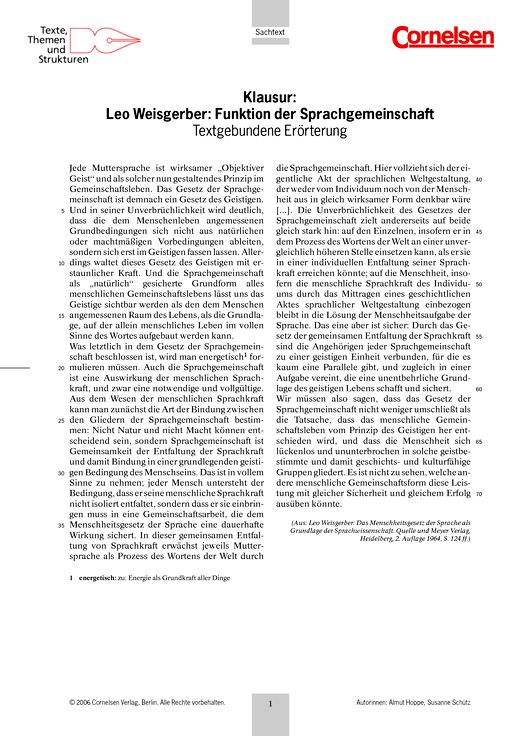 textgebundene errterung zu weisgerbers sprachtheorie und handkes kasparleistungsmessung test prfung zu lehrwerken - Textgebundene Erorterung Beispiel Klasse 12