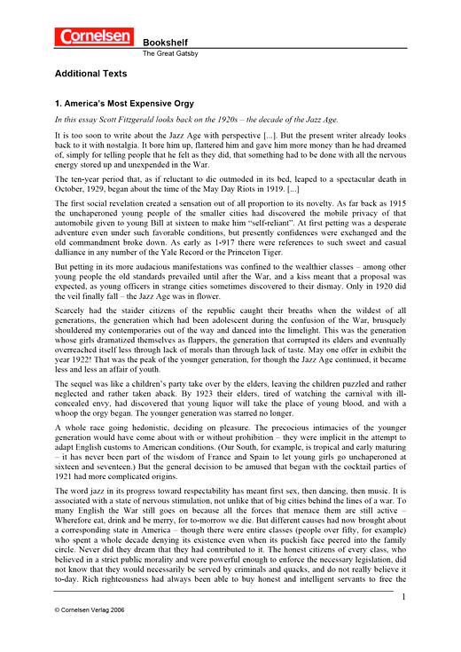 The Great Gatsby - Additional Texts - Arbeitsblatt | Cornelsen