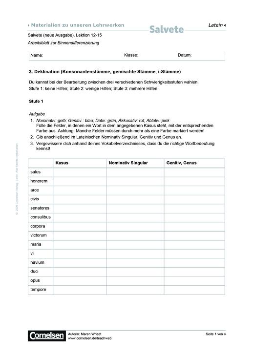 Salvete, Neue Ausgabe: 3. Deklination: binnendifferenzierte Übungen ...