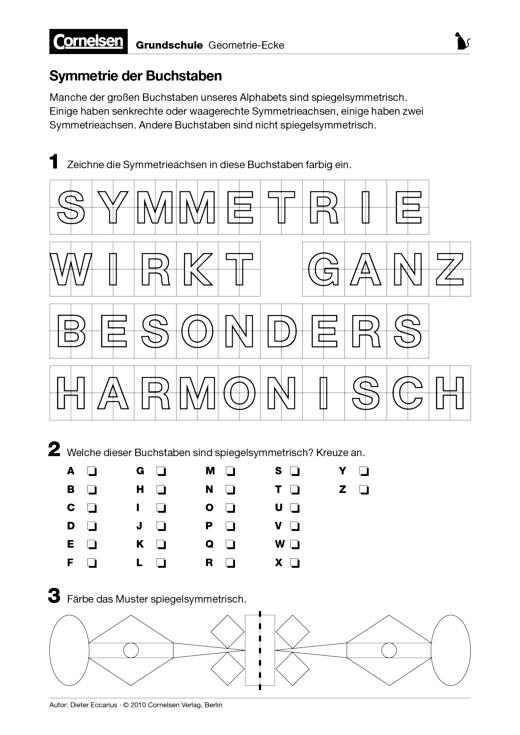 Symmetrie der Buchstaben - Arbeitsblatt | Cornelsen