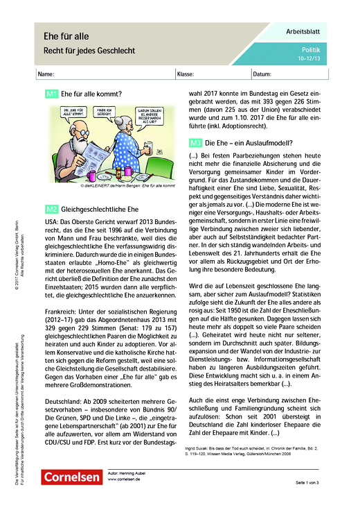 Ehe für alle. Recht für jedes Geschlecht - Arbeitsblatt | Cornelsen