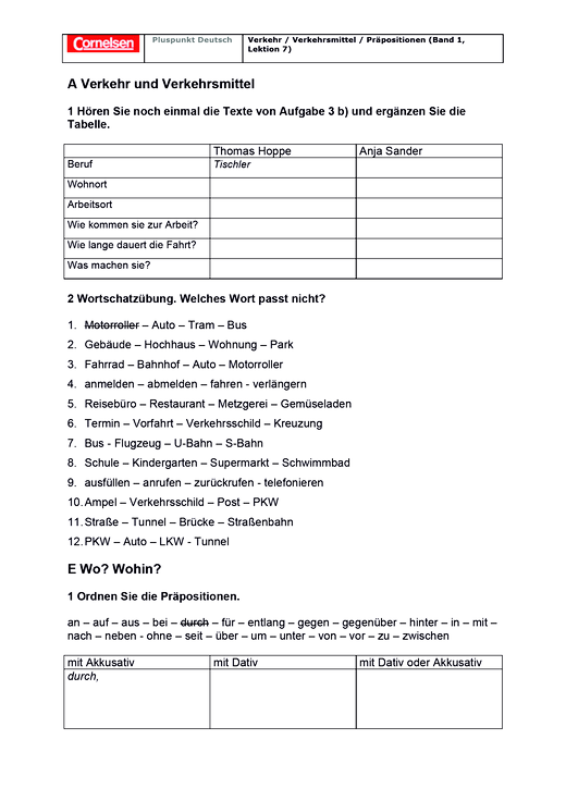 Verkehr / Verkehrsmittel / Präpositionen - Arbeitsblatt | Cornelsen