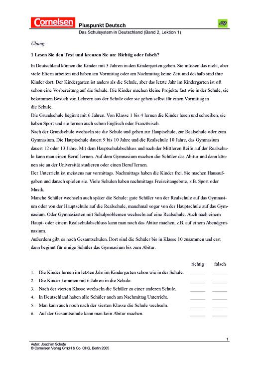 Das deutsche Schulsystem - Arbeitsblatt | Cornelsen