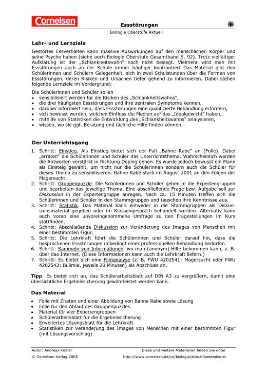 Essstörungen - Arbeitsblatt | Cornelsen