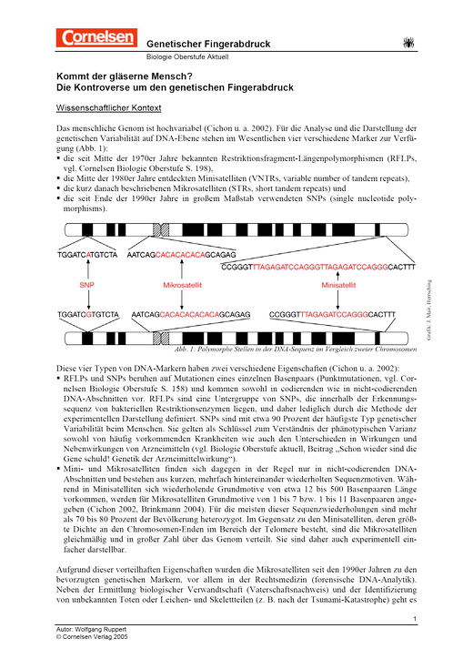 Die Kontroverse um den genetischen Fingerabdruck - Arbeitsblatt ...