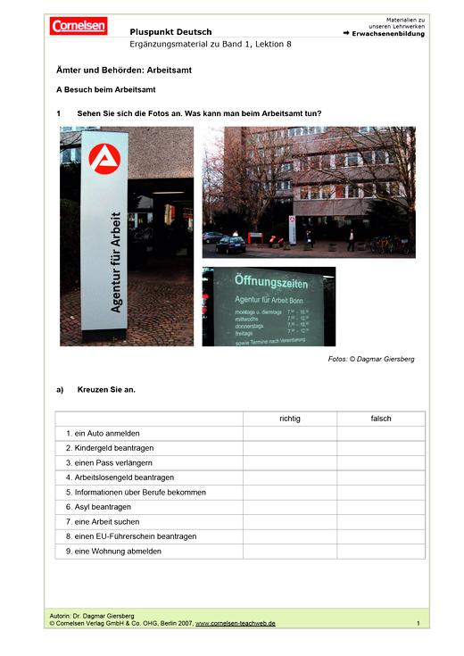 Ämter und Behörden: Arbeitsamt - Arbeitsblatt | Cornelsen