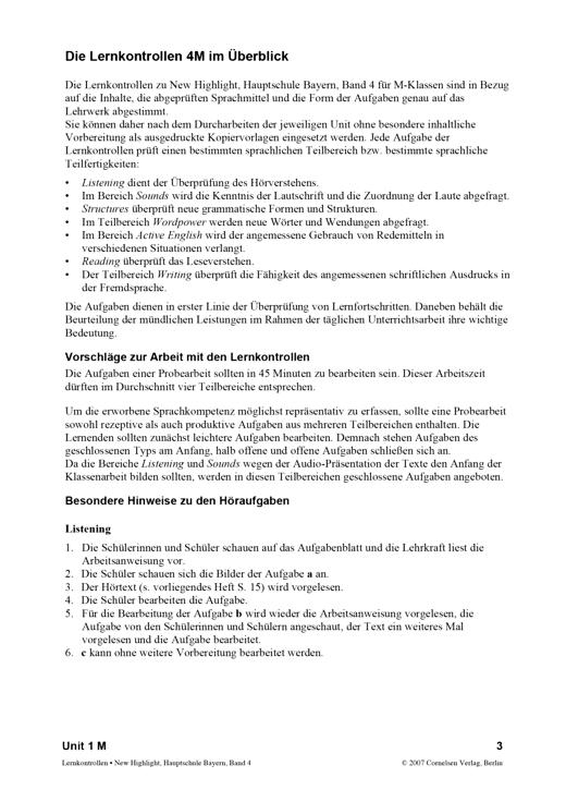 Lernkontrollen für M-Klassen zu Band 4 Unit 1 - Arbeitsblatt | Cornelsen