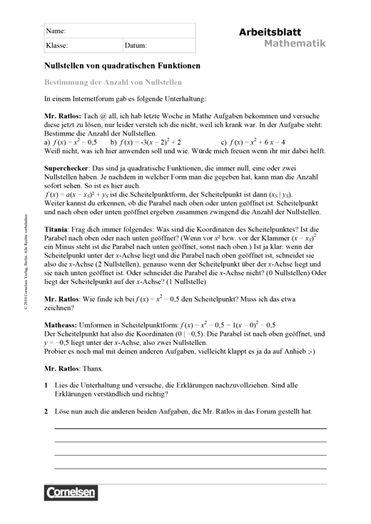Arbeitsblatt zur Bestimmung der Anzahl von Nullstellen ...