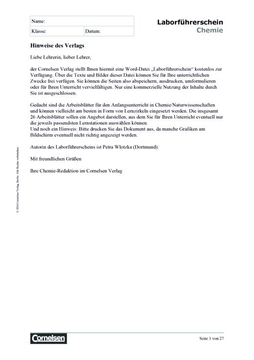 CHIK Themenheft 1: Laborführerschein - Arbeitsblatt | Cornelsen