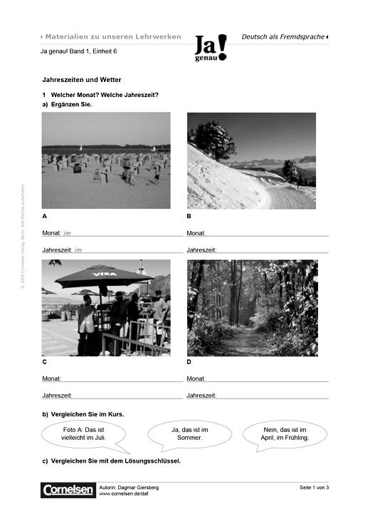 Jahreszeiten und Wetter - Arbeitsblatt | Cornelsen