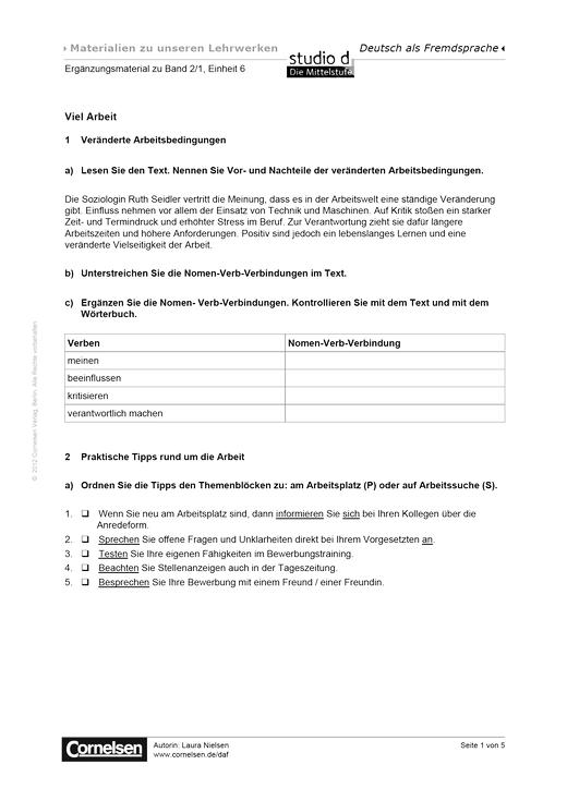 Studio d B2/1 Einheit 6: Viel Arbeit - Arbeitsblatt   Cornelsen