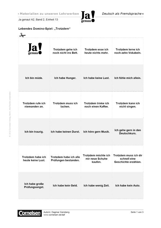 Lebendes Domino-Spiel - Arbeitsblatt | Cornelsen