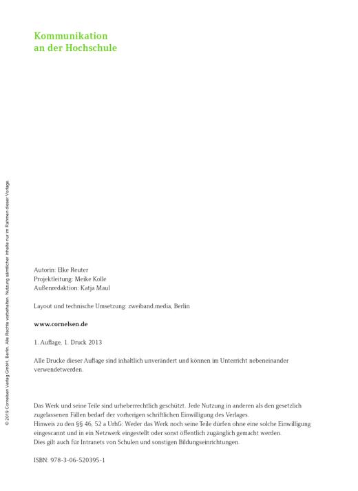 Studieren in Deutschland, Kapitel 1: Kommunikation an der Hochschule ...