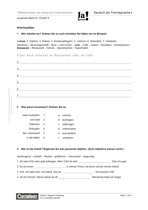 Ja genau! A1: Arbeitsblätter Einheit 9 - Arbeitsblatt | Cornelsen