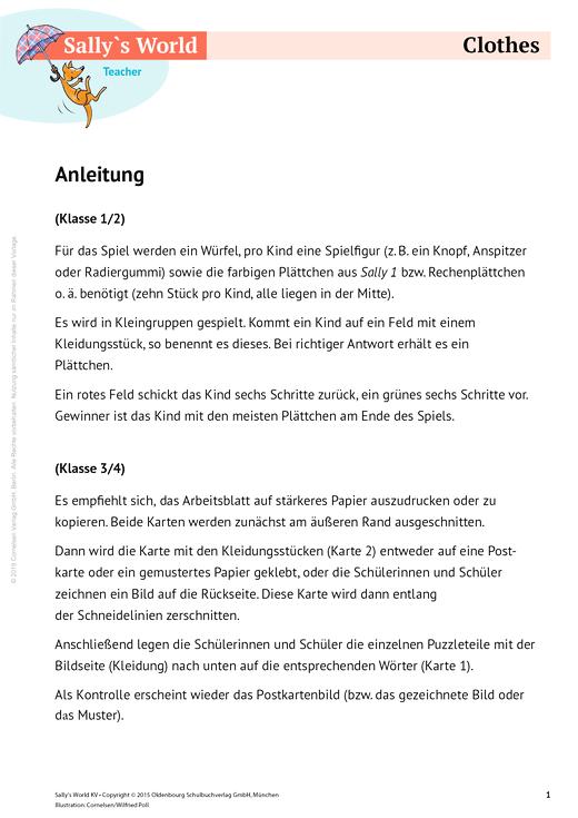 Clothes - Arbeitsblatt   Cornelsen