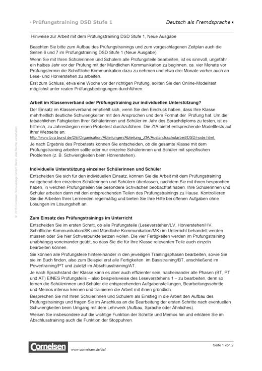 Prüfungstraining DSD-1, Hinweise für Lehrkräfte - Arbeitsblatt ...