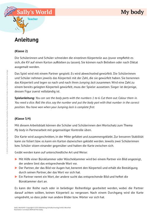 My body - Arbeitsblatt | Cornelsen