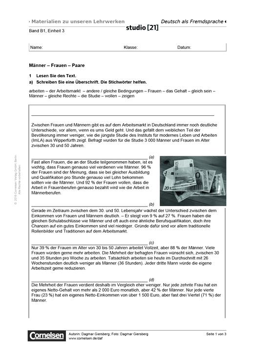 B1 Einheit 3: Männer – Frauen – Paare - Studio [21] - Arbeitsblatt ...