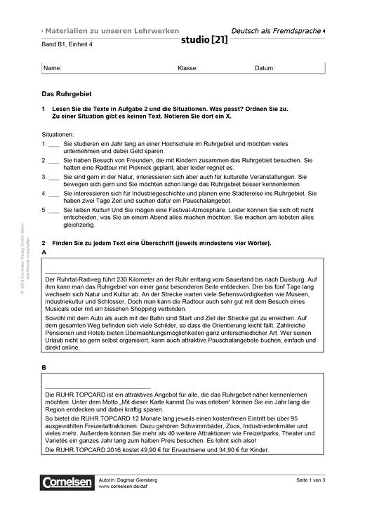 B1 Einheit 4: Das Ruhrgebiet - Lesetext - Studio [21] - Arbeitsblatt ...