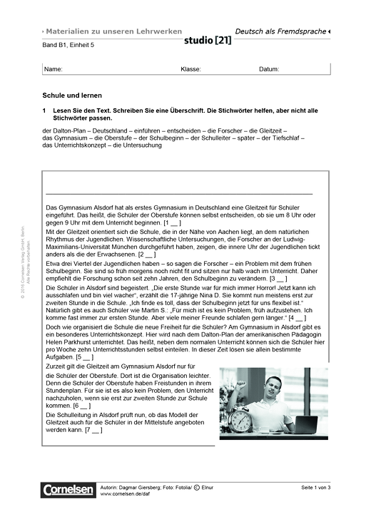 B1 Einheit 5: Schule und lernen (Lesetext + Übungen) - Arbeitsblatt ...