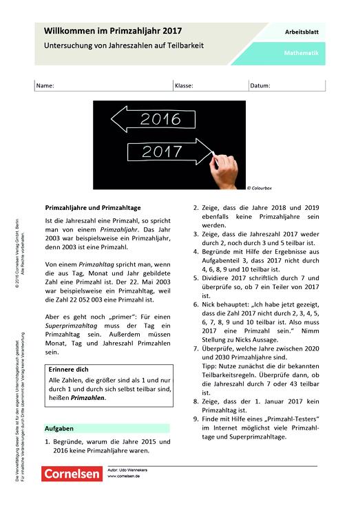 Willkommen im Primzahljahr 2017 - Arbeitsblatt | Cornelsen