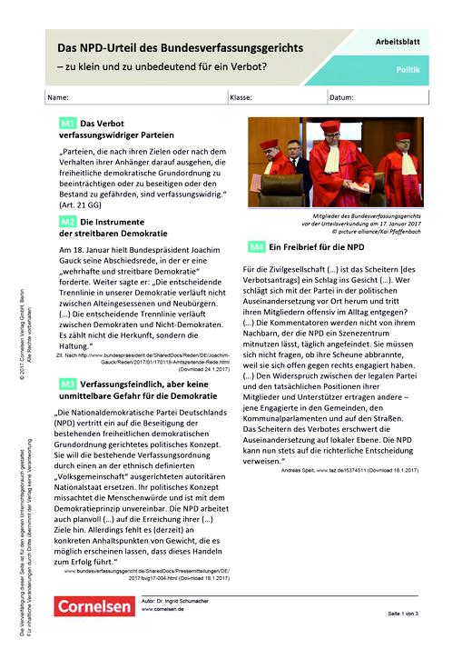 Das NPD-Urteil des Bundesverfassungsgerichts – zu klein und zu ...