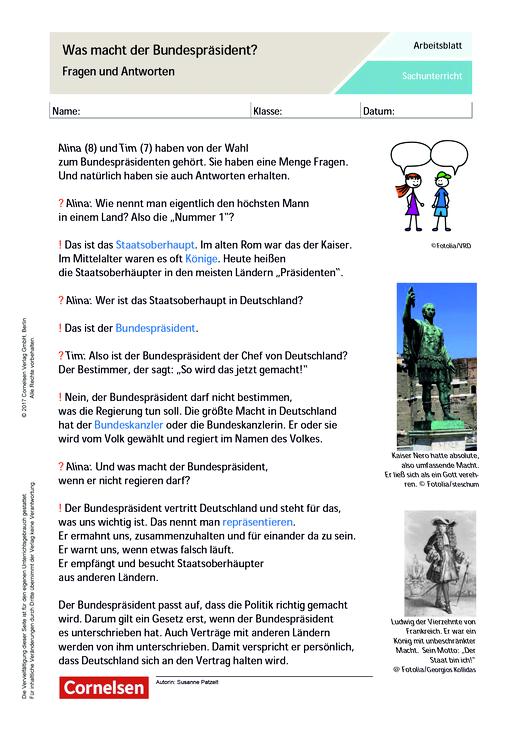 Was macht eigentlich ein Bundespräsident? - Arbeitsblatt | Cornelsen