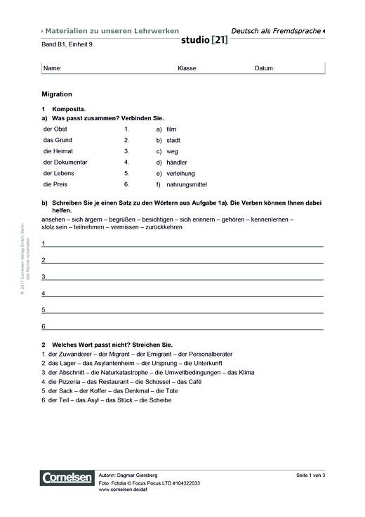 B1 Einheit 9: Migration - Arbeitsblatt   Cornelsen