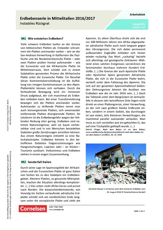 Erdbebenserie in Mittelitalien 2016/2017 – Instabiles Rückgrat ...