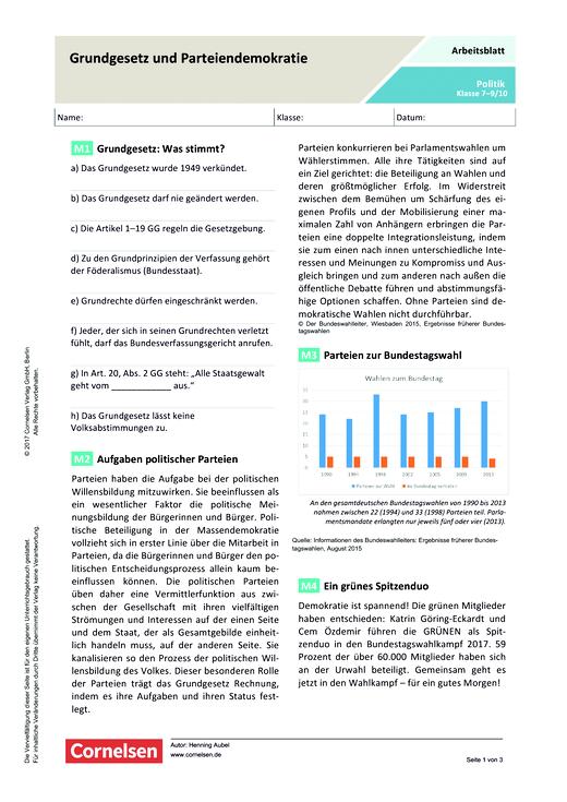 Grundgesetz und Parteiendemokratie - Arbeitsblatt | Cornelsen