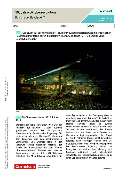 100 Jahre Oktoberrevolution - Putsch oder Revolution? - Arbeitsblatt ...