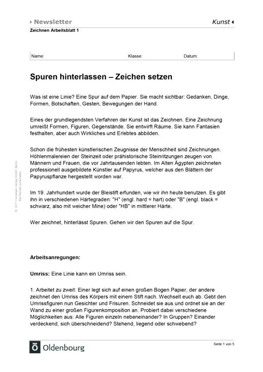 Schülermaterial Arbeitsblatt Spuren hinterlassen - Arbeitsblatt ...