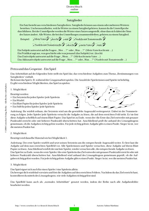 Spiel: Satzglieder - Arbeitsblatt | Cornelsen