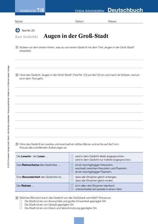 Kurt Tucholsky: Augen in der Groß-Stadt - Arbeitsblatt zum Hörbuch ...