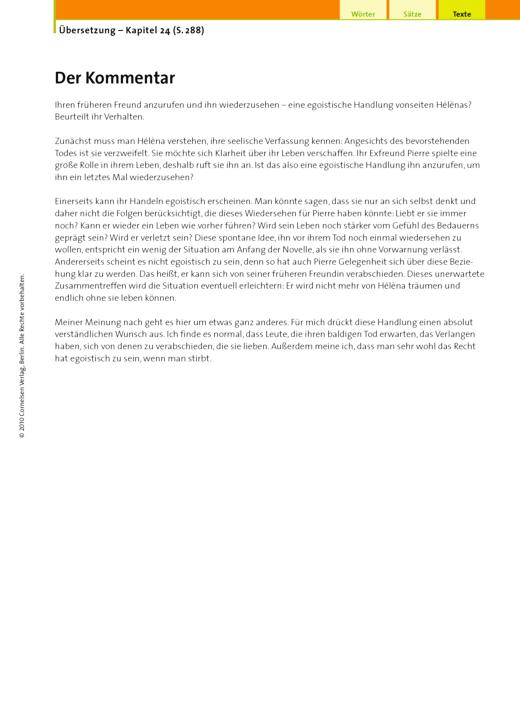 Übersetzung (24.6 Der Kommentar) - Arbeitsblatt | Cornelsen