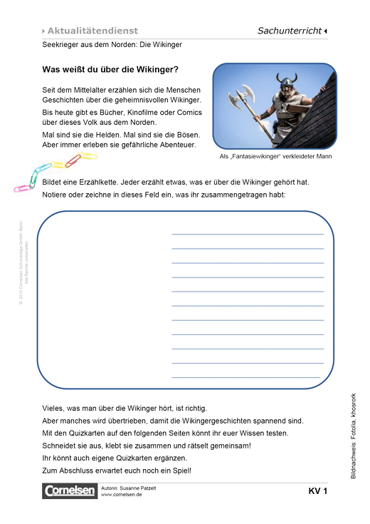 Seekrieger aus dem Norden: Die Wikinger - Arbeitsblatt   Cornelsen