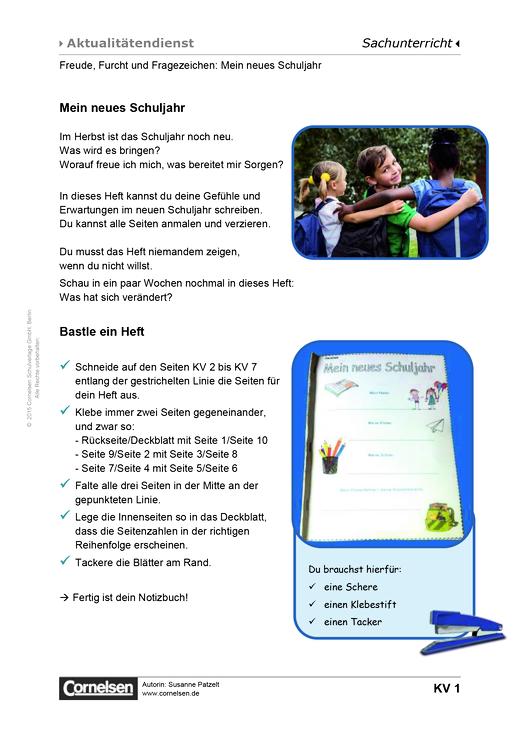 Freude, Furcht und Fragezeichen: Mein neues Schuljahr - Arbeitsblatt ...