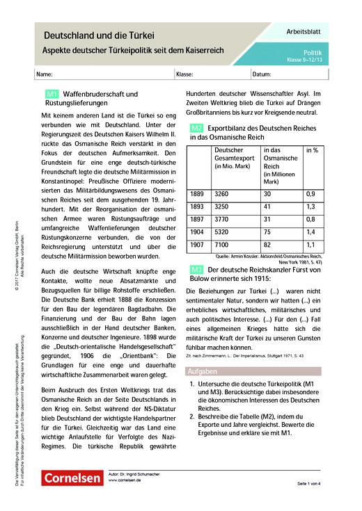 Deutschland und die Türkei. Aspekte deutscher Türkeipolitik seit dem ...