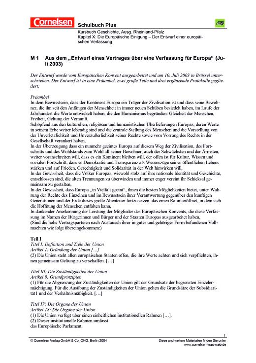 Quellen- und Karikaturinterpretation: Der Entwurf einer europäischen ...
