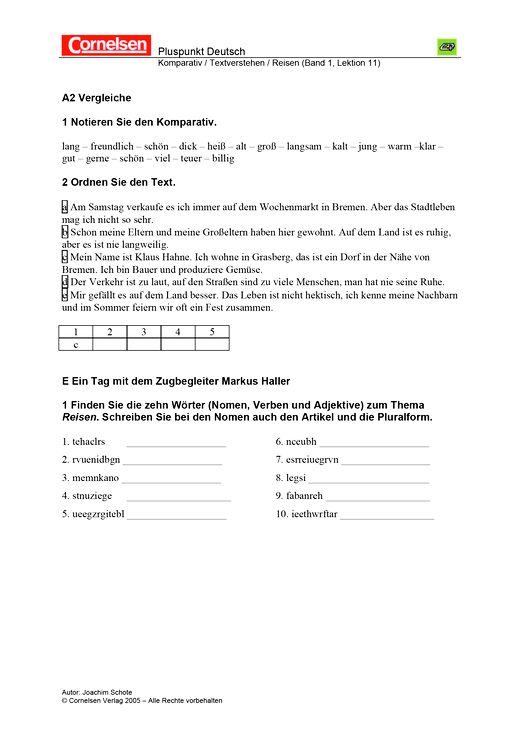 Komparativ / Textverstehen / Reisen - Arbeitsblatt   Cornelsen