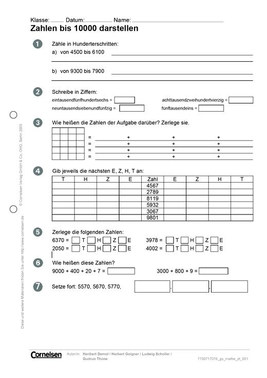 Zahlen bis 10000 darstellen - Arbeitsblatt | Cornelsen