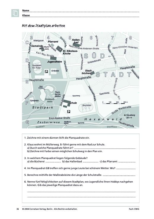 MMR 1, Themenfeld 1: Mit dem Stadtplan arbeiten - Arbeitsblatt ...