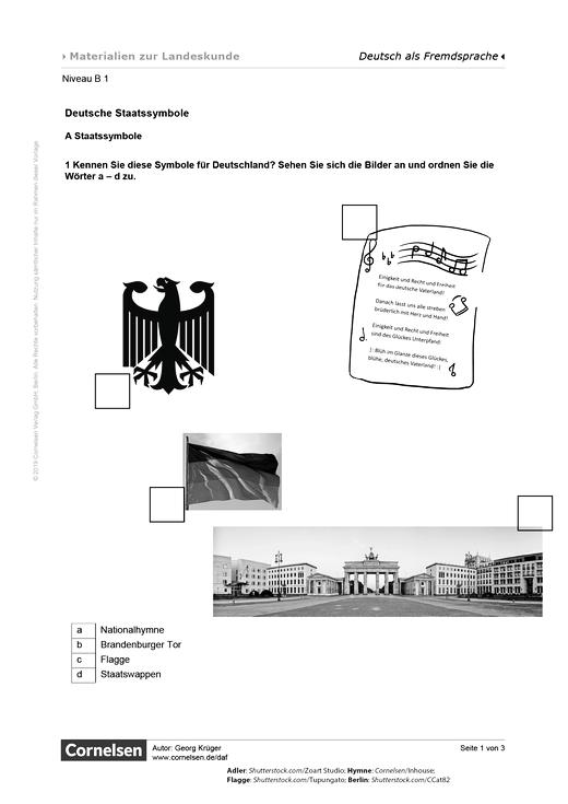 Staatssymbole und die deutsche Nationalhymne - Arbeitsblatt | Cornelsen