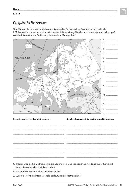 Menschen - Märkte - Räume 3: Europäische Metropolen - Arbeitsblatt ...