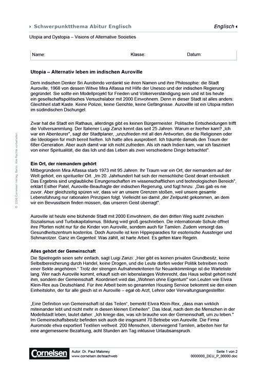 Utopia and Dystopia: Visions of Alternative Societies - Arbeitsblatt ...