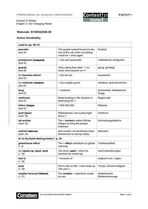 Active Vocabulary Chapter 2 - Arbeitsblatt | Cornelsen