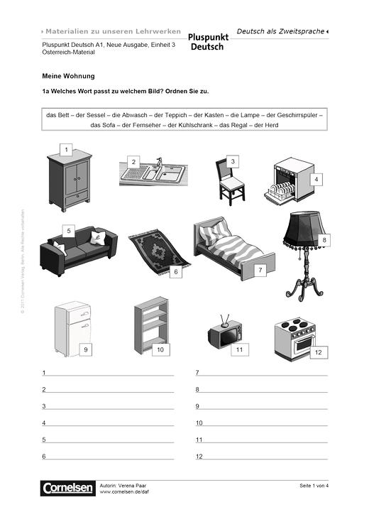 pluspunkt deutsch sterreich band a1 lektion 3 meine wohnung arbeitsblatt cornelsen. Black Bedroom Furniture Sets. Home Design Ideas