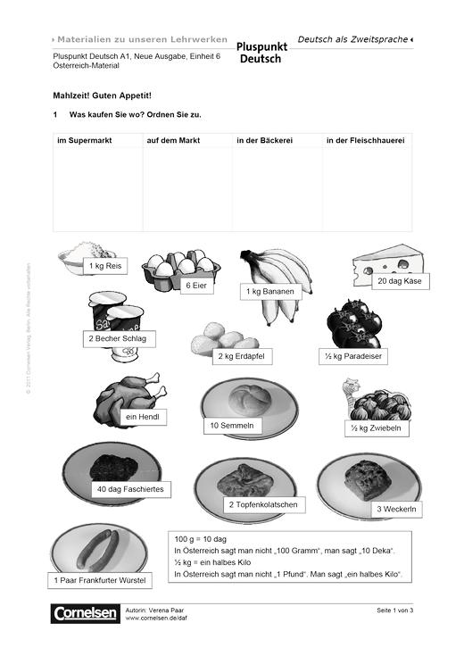 Pluspunkt Deutsch Österreich, Band A1, Lektion 6: Mahlzeit! Guten ...